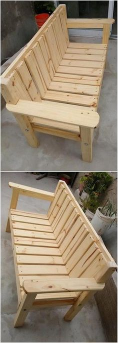 How flawlessly this bench artwork of the wood pallet design has been created out that will be adding extra beauty impact in your house garden areas. This bench simple work is best designed in the easy to build up shaping approach where the moderate s Wooden Pallet Projects, Wooden Pallet Furniture, Wooden Pallets, Pallet Ideas, Woodworking For Kids, Woodworking Projects Diy, Woodworking Bench, Furniture Projects, Diy Furniture