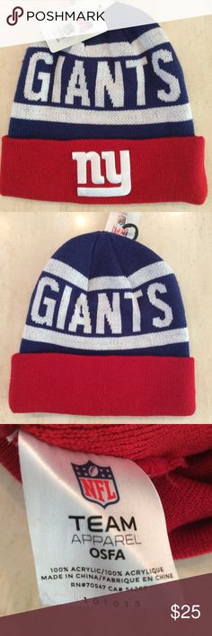 NY GIANTS Knit HAT NY GIANTS Knit Cuffed HAT  NEW with Tags   New York Giants Football Team Beanie   NFL Team headwear   One Size Fits MOST   100% Acrylic   NY Giants Logo embroidery   Color Red White Blue   NY Giants knit Cap  Last Two great looking Hats NFL Accessories Hats