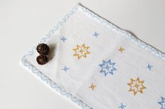 Vintage Swedish White Tablecloth, Table Runner with Snowflakes and Stars Embroidery, Handmade Table Cloth, Christmas Linens by LittleRetronome