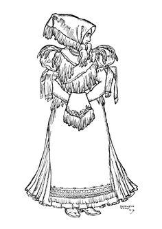 Matyó menyecske Line Drawing, Folk Art, Autumn, Patterns, Drawings, People, Block Prints, Popular Art, Fall Season