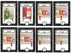 Capacity Vocabulary Cards and Word Wall - This is a set of 16 capacity vocabulary trading cards that make a great addition to a unit on measurement.