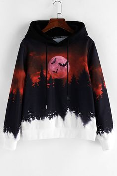ZAFUL Halloween Forest Bat Moon Print Drawstring Hoodie ZAFUL Halloween Forest Bat Moon Print Drawstring Hoodie Clothing Style: Hoodie Collar-line: Hooded Length: Regular Sleeves Length: Full Material: Polyester Pattern Style: Bat,Moon Seasons: Autumn Girls Fashion Clothes, Teen Fashion Outfits, Edgy Outfits, Mode Outfits, Cute Casual Outfits, Girl Fashion, Girl Outfits, Stylish Hoodies, Kawaii Clothes
