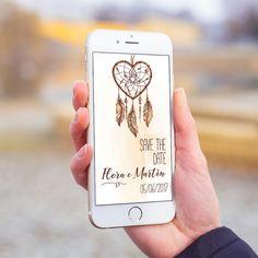Convite digital celular whatsapp save the date casamento boho chic filtro dos sonhos.