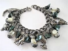 Asian Charm Bracelet Adventurine Stones Mother of Pearl