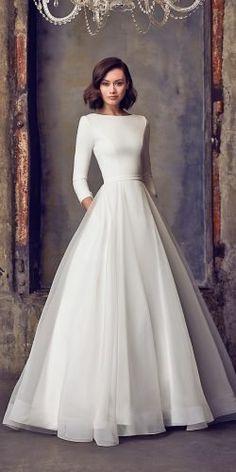 Plain Wedding Dress, Modest Wedding Dresses With Sleeves, Long Wedding Dresses, Long Sleeve Wedding, Elegant Wedding Dress, Boho Wedding, Wedding Bride, Chanel Wedding Dress, Pinina Tornai Wedding Dresses