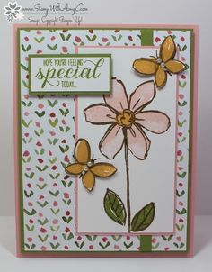 I used the Garden In Bloom stamp set and a little of the EnglishGarden DSP from Stampin' Up! to create my card for the Sketch and Stamp SB109 sketch challenge this week. Here is this weeks Sketch ...