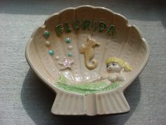 CNI Florida Mermaid Ashtray Travel Souvenir w Seahorse Starfish Bubbles Ceramic