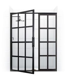 True Divided-Light Swing Door – Coastal Shower Doors. Pretty darned unique. Dramatic, yet elegant. Won't work for my application as have a tile design in the enclosure. Meaning things won't line up. Will look awkward. But for enclosing a single solid color design, this is pretty slick. And likely pretty expensive.