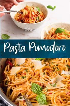 Italian Pasta Pomodoro is made with fresh tomatoes and a light and flavorful sauce, perfect for quick weeknight meals. This pasta pomodoro recipe is ready in 20 minutes! Light Pasta Recipes, Pasta Recipes Video, Chicken Pasta Recipes, Spaghetti Recipes, Pasta Salad Recipes, Cooking Recipes, Whole Wheat Spaghetti Recipe Healthy, Pasta Spaghetti, Shrimp Pasta