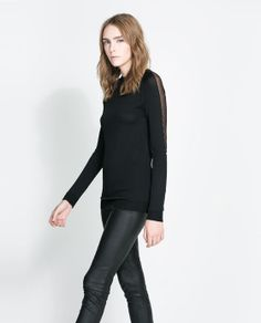 ZARA - WOMAN - SWEATER WITH TRANSPARENT SECTIONS ON THE SLEEVES- This sweater is everything, I like it.