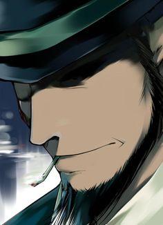 bowler hat 1boy na mizuumi cigarette  lupin iii smoking jigen daisuke portrait   beard profile facial hair solo image