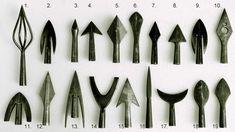 Variety of arrow head types