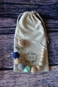 Little Gems Dummy Clip / Pacifier Clip / Toy by ELKKAhandmade