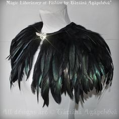 CAPELET Cape Caplet Feathers Gothic Decadance Costume Stage Clothing 2013 TianaCHE. $250.00, via Etsy.