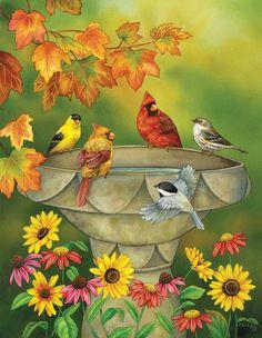 Autumn Birdbath | PuzzleWarehouse.com