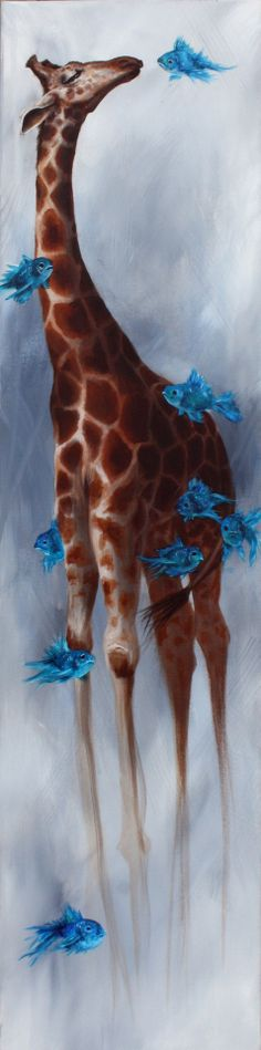 Giraffe and Fish  - Art by Mallory Hart Via behance.net