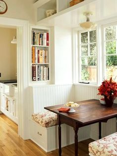 Breakfast Nook with built-ins for cookbooks