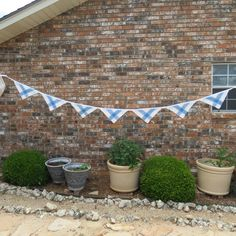 Great blue and white bunting made from vintage napkins!