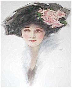$79 Vintage Print: Victorian lady Flower Hat Pink Roses Henry Hutt (Image1)