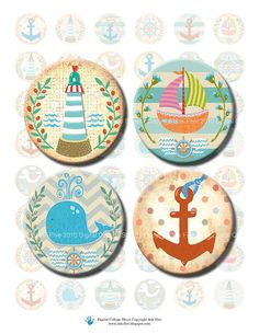Sea Adventures nautical 1 inch circle jewelry making by InkFive