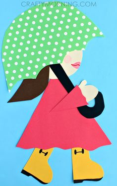 Girl in Rain Boots Holding an Umbrella (Spring Craft for Kids) | CraftyMorning.com