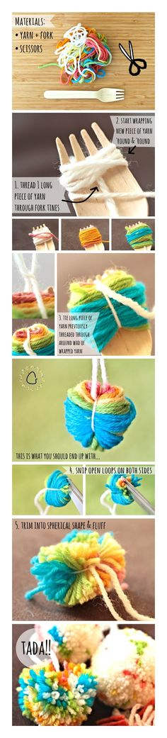 Step By Step How To Guide To Making Mini Yarn Pom Poms With A Fork at https://www.sharethemess.com/1/post/2014/04/tutorial-thursday-mini-pom-poms-on-a-fork.html