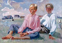 Children In Vacation-Alexander Deineka (1899 – 1969, Russian)