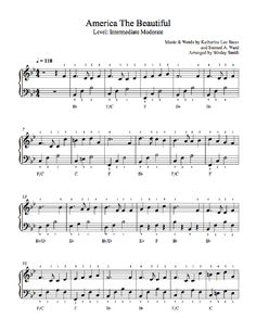 America the Beautiful by Traditional Piano Sheet Music | Intermediate Level