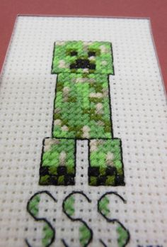 Sewing, My Other Hobby: Cross Stitched Creeper Cross Stitch Designs, Cross Stitch Patterns, Minecraft Crafts, Minecraft Room, Textiles, Creepers, Handmade Crafts, Cross Stitching, Beading Patterns
