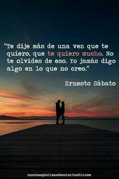 Te dije mas de una vez que te quiero, que te quiero mucho. No te olvides de eso.Yo jamas digo algo en lo que no creo