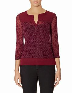 Printed Mixed Media Top from THELIMITED.com #ItsTime #TheLimited