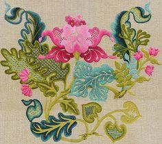 Persian Blossom Bouquet  / Crewel embroidery designs by Anna Garris Goiser
