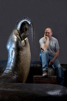 "Hockley's 48-foot long replica of Titanoboa slurping down a dyrosaur (an ancient relative of crocodiles). The sculpture is featured in the exhibition ""Titanoboa: Monster Snake"" at the National Museum of Natural History in Washington D.C."