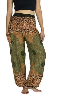 Lanna Lanna Thai Harem Trousers / Harem Pants - Yoga, Festival & Boho Hippy / Aladdin Style with Peacock Feather, Elephant & Stripe Designs (Orange & Green Spiral)
