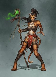 This is Kaiyonani, a concept character we worked on with Paul Davies. She's a kaja, a race of anthropomorphic cat people.