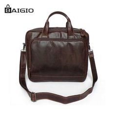 "75.00$  Watch now - http://alifas.worldwells.pw/go.php?t=32514862625 - ""Baigio Men Leather Briefcase 11.5"""" Laptop Bag Vintage Brand Designer Genuine Leather Men Messenger Bags Tote Shoulder Handbag """