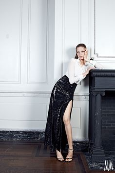 Reach for this sequin skirt by Halston Heritage when you get that last-minute invitation. A sheer silk blouse balances the thigh-high slit, and simple black stilettos complete the look.