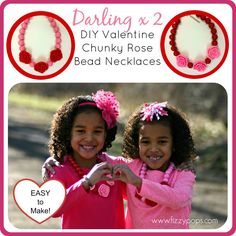 DIY Valentine Chunky Rose Bead Necklace. Visit www.fizzypops.com for tutorial and supplies.