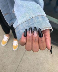 Black Flame Nails Glossy black stiletto nails with flame accent . - Black Flame Nails Glossy black stiletto nails with flame accent nails For more nail inspiration, fo - Black Stiletto Nails, Black Acrylic Nails, Summer Acrylic Nails, Best Acrylic Nails, Black Nail Art, Cute Black Nails, Black Coffin Nails, Summer Nails, Black Stilettos