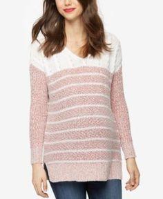 A Pea In The Pod Maternity Striped V-Neck Sweater - Red-White Stripe L