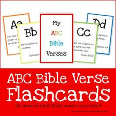 """Download these 2"""" x 3"""" ABC Bible Verse Flashcard printables to use with your children in learning God's Word from A to Z."""