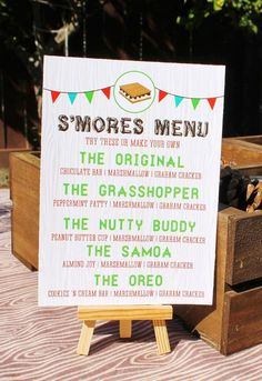 Hey, I found this really awesome Etsy listing at https://www.etsy.com/listing/217448664/camping-party-smores-bar-menu-sign-8x10: