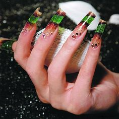 Nails Art Green Red And Gold With Crystals