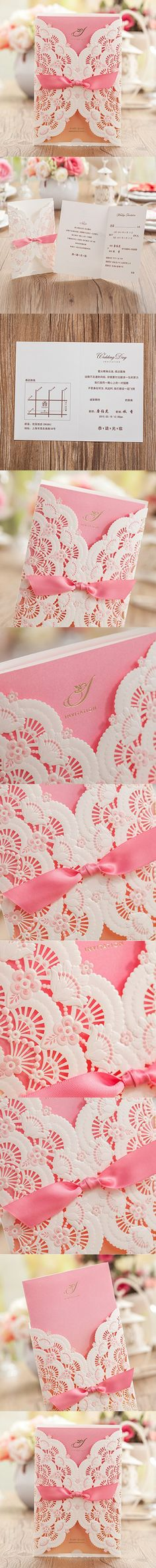 Wishmade 50x Laser Cut Lace Sleeve Wedding Invitations Cards Kits for Engagement Invitations Bridal Shower Birthday Anniversary Quinceanera Paper Cardstock with Lace and Hollow Flowers(Set of 50pcs)