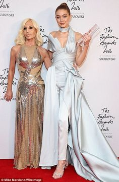 DONATELLA VERSACE & GIGI HADID model of the year 2016 British Fashion Awards Everyone's a winner International Model award winner Gigi Hadid with Donatella Versace......