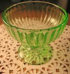 43ec14ec3731 Green Depression Glass Dessert Dish.  5.00