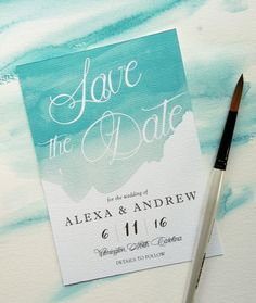 Sample  Watercolor Splash Save the Date Card by NooneyArt on Etsy