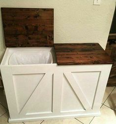 Double Bin Trash and Recycling Bin Do It Yourself Home Projects from Ana White I would like this for the laundry room hamper. Trash And Recycling Bin, Trash Bins, Recycling Storage, Indoor Recycling Bins, Recycling Station, Recycling Bins For Kitchen, Hide Trash Cans, Plastic Recycling, Diy Furniture