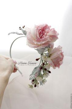 """Купить Ободок для волос с цветами - """"Марьяна"""" Цветы из шелка. - кремовый, ободок с розами, ободок для невесты"""