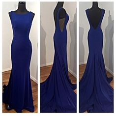 Backless Prom Dresses Sexy Open Backs Royal blue mermaid long prom dress Evening Dress Party Dress Formal Gowns